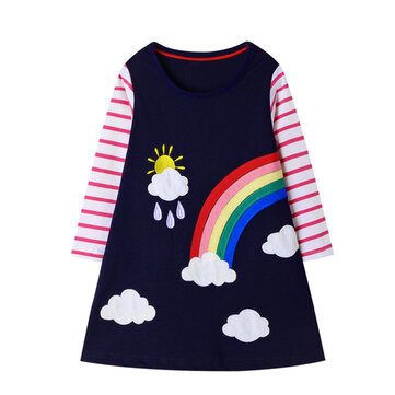 Girl's Striped Dress For 1-9Y
