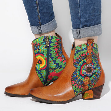 Retro Peacock Feather Pattern Boots