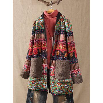 Vintage Ethnic Print Fleece Coat