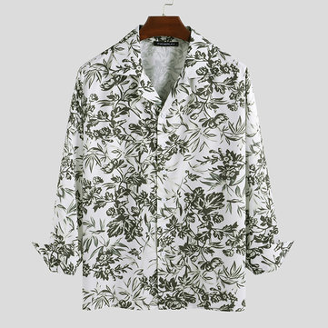 Mens Leaves Printing Button Shirt