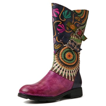 Folkways Pattern Leather Mid Calf Eben Stiefel