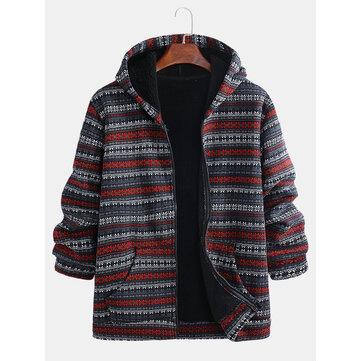 Ethnic Striped Printing Fleece Lined Hoodies