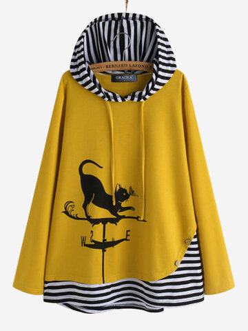 Cartoon Cat Stripe Patchwork Hoodie