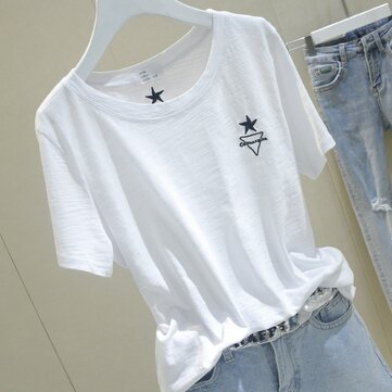 Bamboo Cotton Short-sleeved T-shirt Female Season White Embroidery Five-pointed Star Ins Half-sleeved T-shirt Student Chic Loose Top