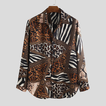 Mens Animal Patchwork Bedruckte Shirts