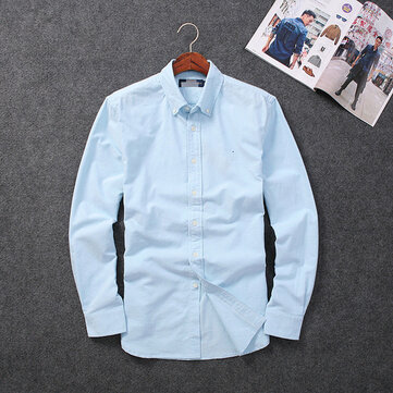 Foreign Trade Original Men's Soft Wash Natural Cotton Men's Spring New Oxford Shirt Solid Color Casual Shirt