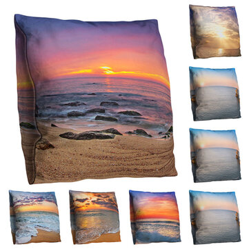 3D Ocean Beach Sunset Printed Art Throw Pillowcases