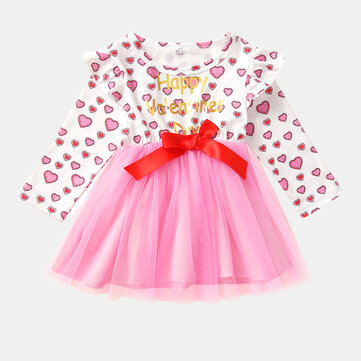 Girl's Valentine's Day Tulle Dress For 1-7Y
