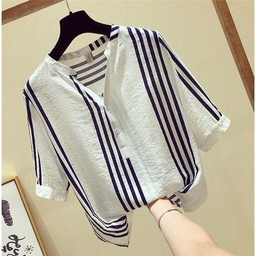 Good Quality Vertical Striped Shirt Female Short-sleeved Loose Wild Top With Fresh V-neck Shirt
