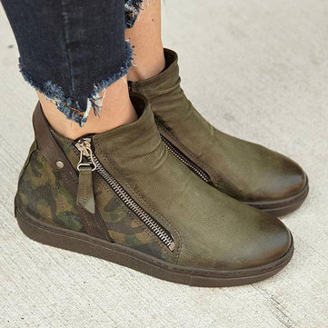 Army Zipper Flat Ankle Boots