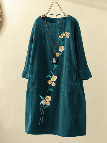 Flower Embroidered Corduroy Dress