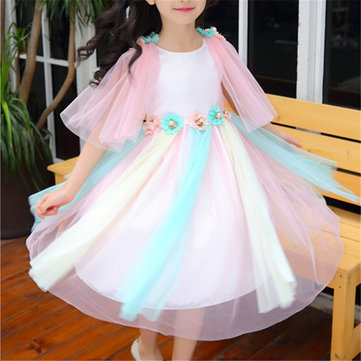 Girl's Rainbow Flower Tulle Dress For 4-16Y