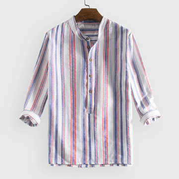Camicie Henley larghe a righe in cotone 100%