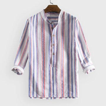 100% хлопок в полоску свободные рубашки Henley