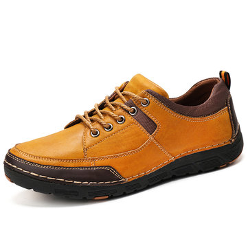 Men Stitching Leather Splicing Casual Shoes