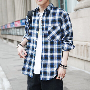 Men's Shirt Korean Youth Loose Plaid Men's Long Sleeve Shirt Spring New Fashion Casual Joker