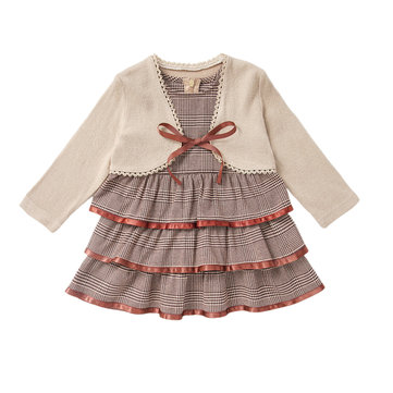 Girl's Layered Plaid Dress Set For 1-5Y