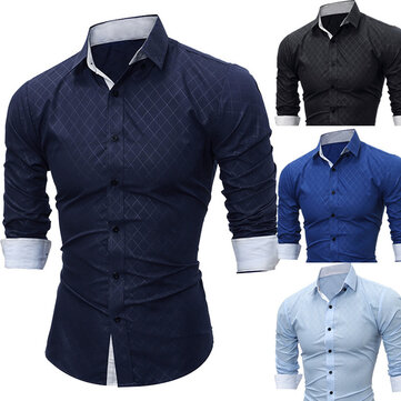 2019 Spring New Foreign Trade Men's Fashion Lined Trend European And American Style Casual Long-sleeved Shirt 5206