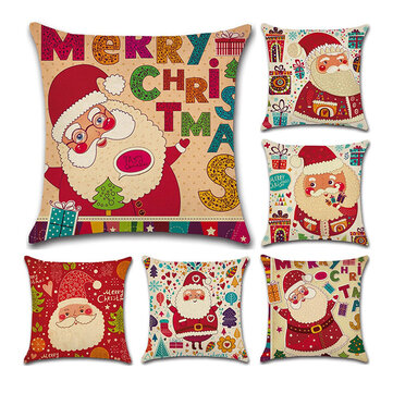Christmas Santa Pattern Linen Cotton Cushion Cover