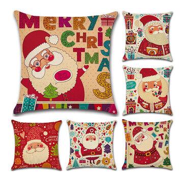Weihnachtsmann Muster Leinen Baumwolle Kissenbezug