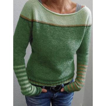 Maglione a righe a contrasto di colore