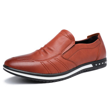 Men Microfiber Leather Non Slip Casual Shoes