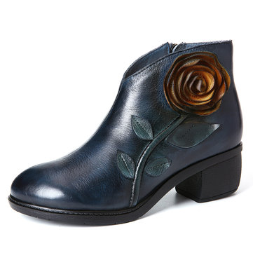 Retro Solid Color Leather Handmade Rose Boots