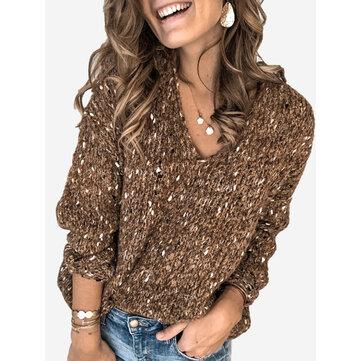 Повседневный свитер с V-образным вырезом