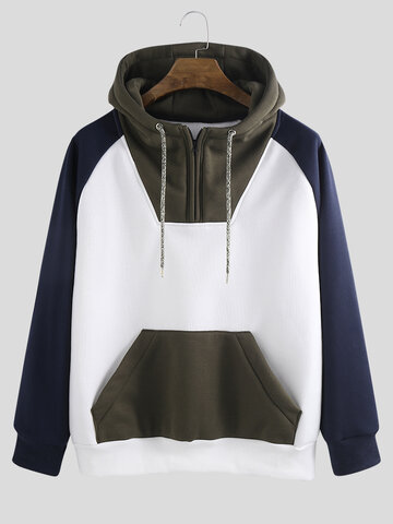 Cool Streetwear Color Block Patchwork Hoodie