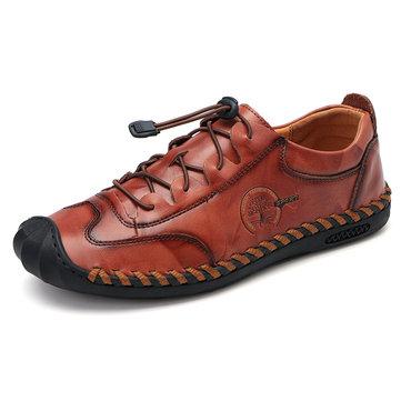 Homens mão costura Soft sapatos de couro único
