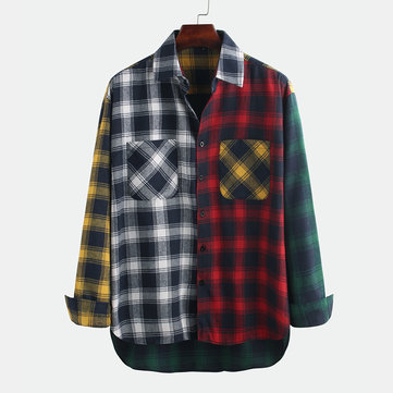 Mens Hit Color Checked Pocke Shirts