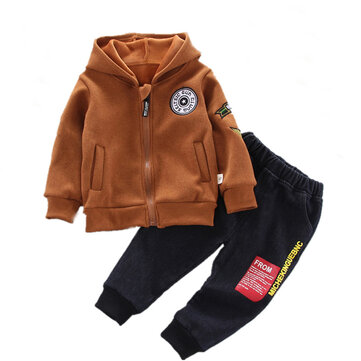 Criança Zip Up Hoodie Carta Bordado Set For 1-5Y