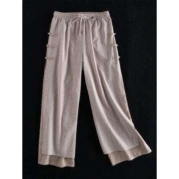 Pantalon vintage à boutons grenouille