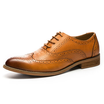Men Leather Brogue Business Formal Shoes