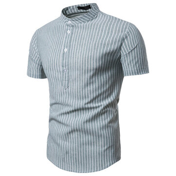 Men's Striped Shirt Cross-border For 2019 Summer New Striped Casual Pullover Men's Short-sleeved Shirt 9711