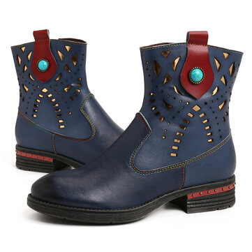 Simple Genuine Leather Retro Bead Short Boots
