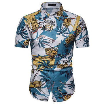 Foreign Trade Summer New Men's Casual Beach Print Slim Shirt Men's British Large Size Pointed Collar Short-sleeved Shirt