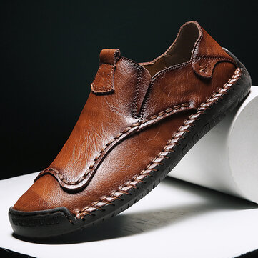 Men Hand Stitching Non Slip Casual Leather Shoes