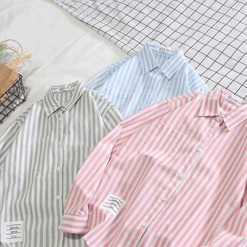 Tide Brand A Yang Yang With The Shirt Spring And Summer Shirt Korean Version Of The Trend Ins Super Shirt Student Men's Strip