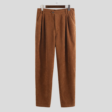 Mens Loose Casual Plain Straight Pantaloni