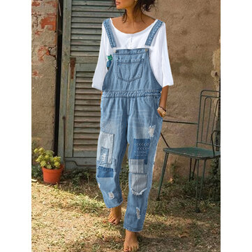 Embroidered Patchwork Denim Jumpsuit