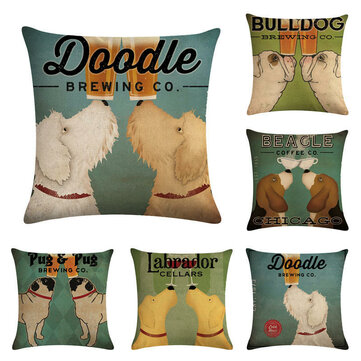 Vintage Style Doggy Beer Printed Linen Cushion Cover