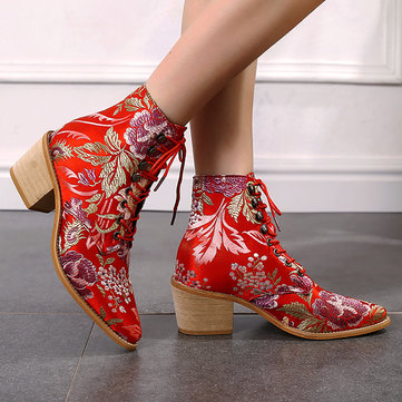 Embroideried Square Heel Strappy Short Boots