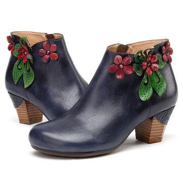 Retro rote Blume einfaches dunkelblaues Leder Stiefel