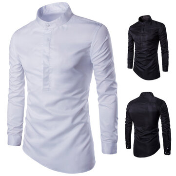 2018 Boutique Men's Foreign Trade Long-sleeved Shirt European And American Trend Slim Men's Collar Shirt Solid Color Shirt Y506