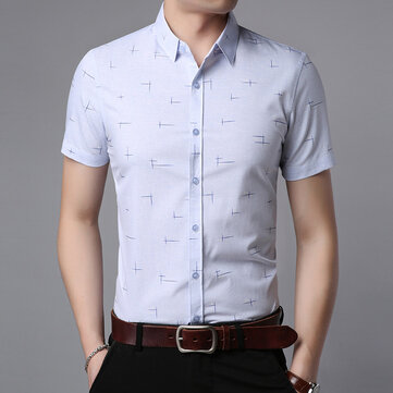 2019 Summer New Men's Short-sleeved Shirt Youth Men's Korean Casual Men's Half-sleeved Printed Shirt Wholesale