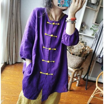 Qi Qi Draw Season New Literary Retro Hand-made Buckles Hit Color Loose Casual Linen Cardigan Shirt Genuine