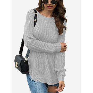 Solid Color Split Overhead Sweater