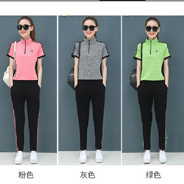 Season New Fat Mm Large Size Loose Casual Lapel Short-sleeved Trousers Sports Two-piece Suit Women