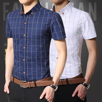 A Generation Of Men's Plaid Short-sleeved Shirt Men's Cotton Business Shirt Men's Summer Trend Casual Shirt Men